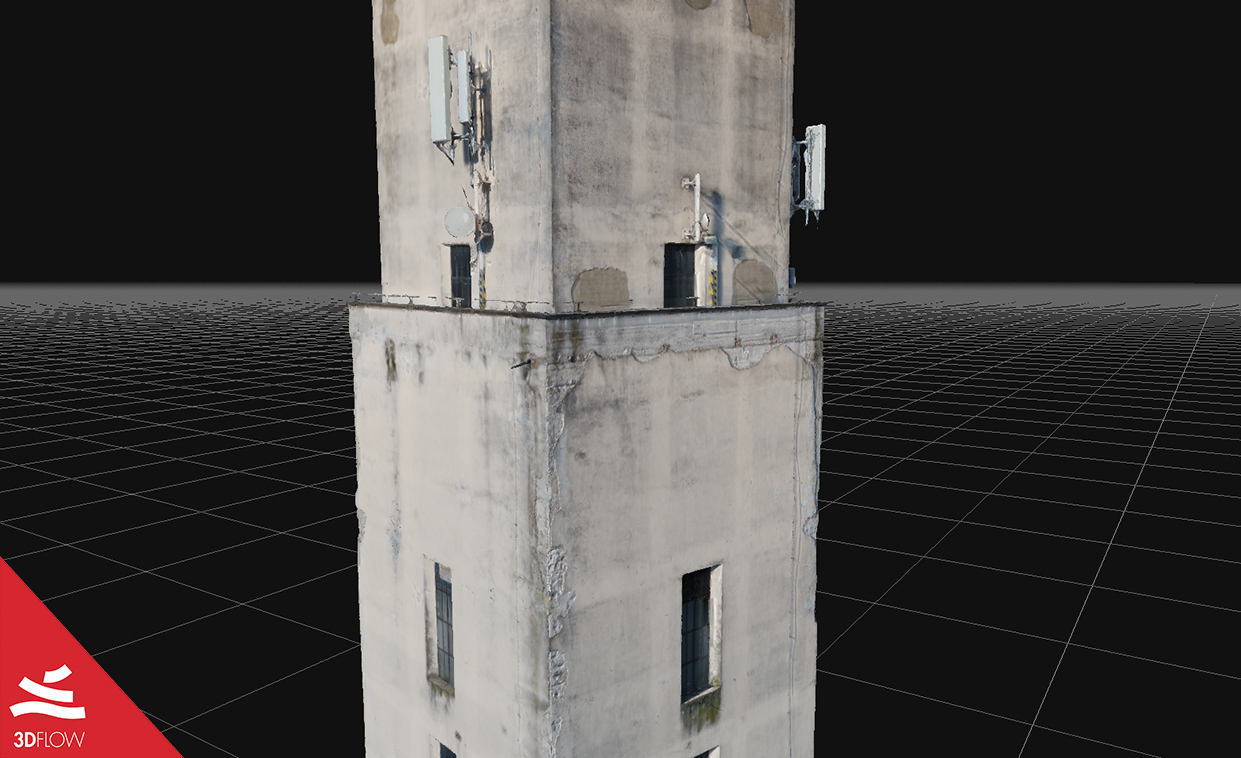 3D mesh geometry (left) and texture (right) of the tower façades. © DL Droni Srl