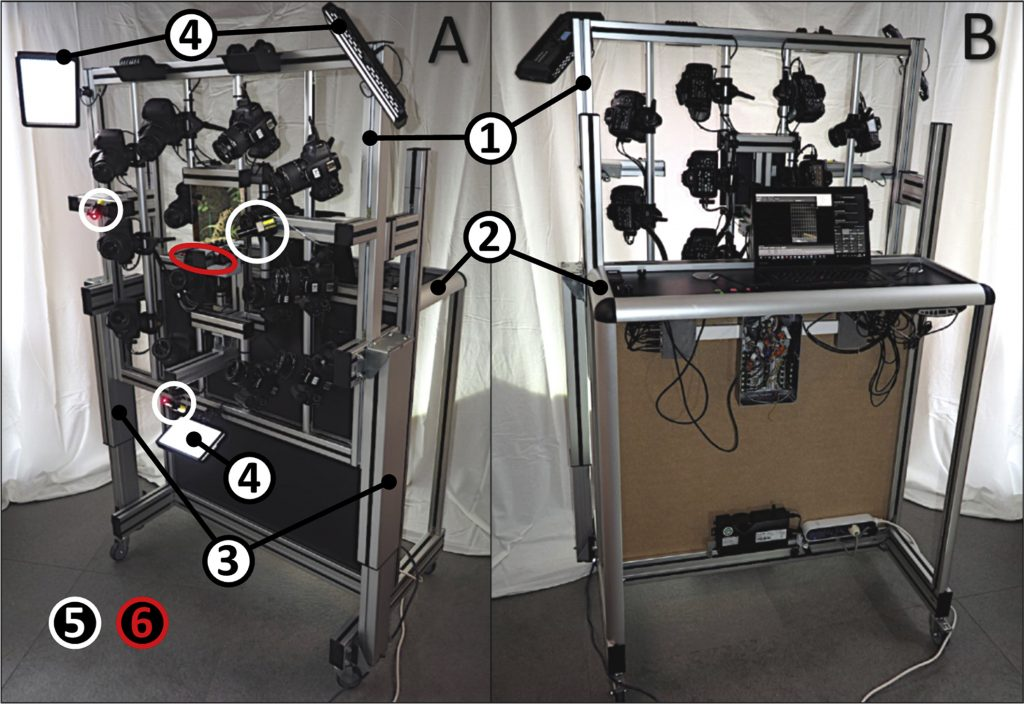 Fig. 1. A, Frontal-oblique (patient side); B, rear view (operator side) of the custom-built StereoFace 3D system.