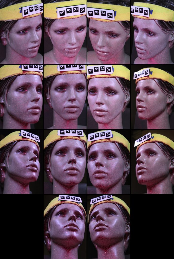 Fig. 2. Example of the 14 camera views, as acquired from the mannequin head with the red dots.