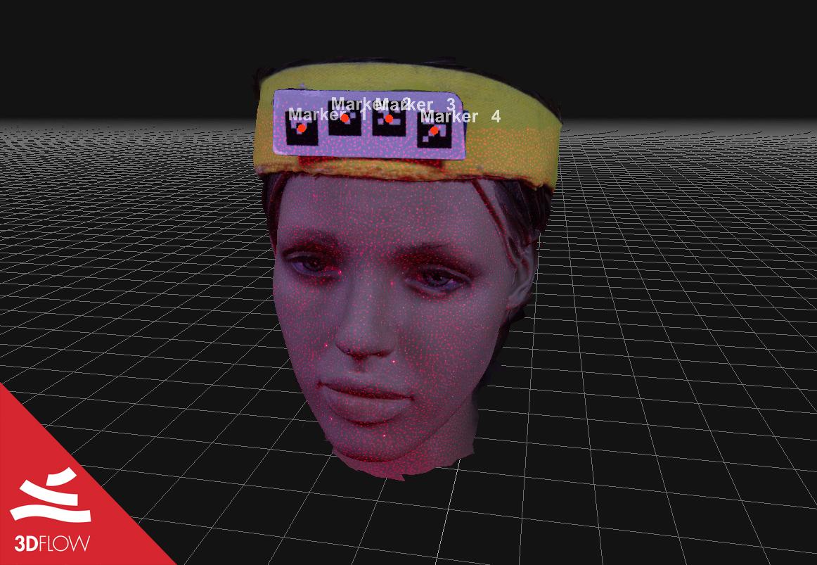 Fig. 3. Screenshot della mesh colorata (sx) e della geometria (dx) del modello 3D della testa di manichino generate con 3DF Zephyr.