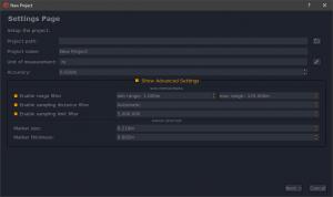 I filtri di Preprocessing nella finestra di nuovo progetto in 3DF Scarlet.