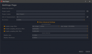 3DF Scarlet Preprocessing filters in the New Project wizard.