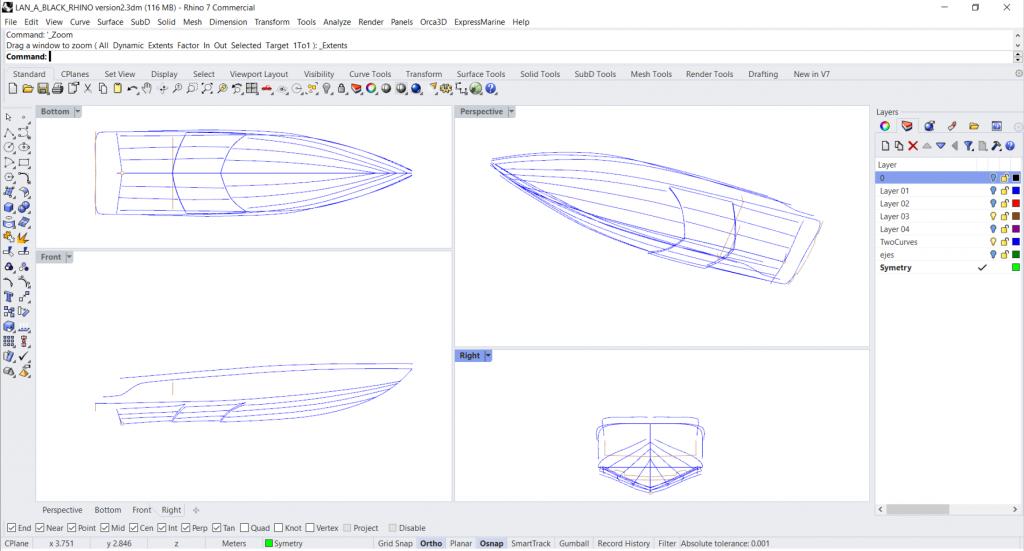 Fig. 3. Primo step di disegno CAD in Rhinoceros 7. © Edgar Tovar