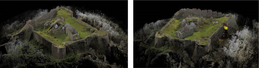Fig. 2. Scansioni laser delle viste Sud-Est (sx) e Nord-Est (dx) della fortezza. © Giovanni Pancani – DIDA UniFI